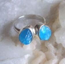 Ring mit rohem Apatit - 925er Silber - roh - Gr. 17,8  - neon - petrol