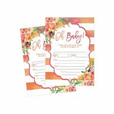 50 Fill in Floral Baby Shower Invitations, Baby Shower Invitations Watercolor, P