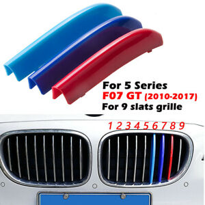 9 Slats Stripe Kidney Front Grill Grille Trim For BMW 5 Series GT F07 2009-2017