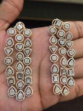 Pave 9.67 Cts Round Baguette Cut Diamonds Chandelier Earrings In Fine 14K Gold