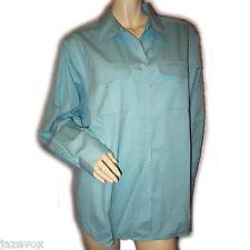 LIZ CLAIBORNE Womens Button Down Shirt Top Plus Size 14 W Blue Green Long Sleeve