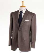 NWT $3995 D'AVENZA Heather Brown-Sky Blue Stripe Wool-Cashmere Suit 40 R