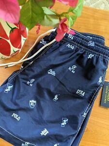 Ralph Lauren Polo Icon Logo Traveler Navy Swim Trunks Shorts XL XXL $80