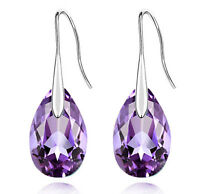 Purple Almond Teardrop Drop Earrings E834