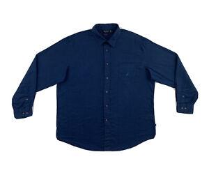 Nautica Linen Button Down Shirt Mens XL Blue Long Sleeve