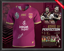 Greg Inglis Signed Queensland Official State of Origin Retirement Jersey Framed