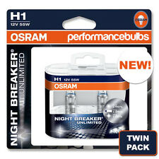 H1 OSRAM NIGHT BREAKER UNLIMITED PEUGEOT 407 04- LOW BEAM HEADLIGHT BULBS