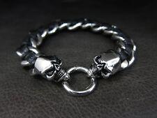Luxury Men Silver Skull Black Leather Chain Bracelet for Hard Rock Rider TB165