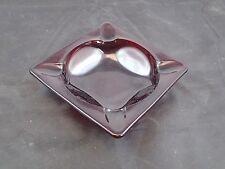 "Vintage Royal Ruby Red Glass Anchor Hocking Ashtray Tobacciana Smoking 4 3/4"" sq"