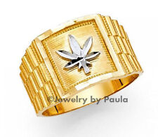Men's 14k Solid Yellow Gold with White Gold  Marijuana Leaf Band Ring