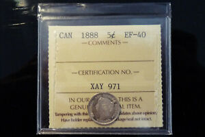 1888 Canada silver five 5 cents - **ICCS EF-40**