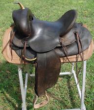 Antique 1920's R. T. Frazier Saddlery Cowboy Western Pueblo Saddle w/Brass Horn
