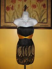 NWT  bebe Black & Gold Strapless/Halter Silk Dress Size XS