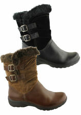 Leather Slim Heel Mid-Calf Boots for Women