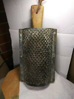 Vintage Large Metal Cheese Grater with Wood Handle. Rustic