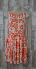 Topshop Orange Hieroglyphic Print Sun Dress Boho Hippie Style Size 6