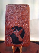 Vtg. Hand Carved Solid Walnut Folk Art Humming Bird & Floral By Lloyd Allen