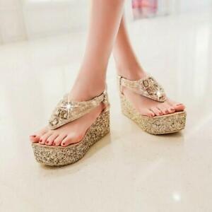 Womens New Sequin Rhinestone Thong Platform Wedge Sandals Shoes Flip Flops NWLF