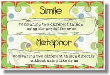 Metaphor VS Simile - NEW Classroom Reading and Writing Poster