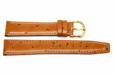 19MM BROWN STITCHED OSTRICH GRAIN HIGH QUALITY LEATHER WATCH BAND STRAP