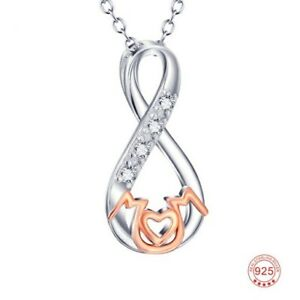 """925 Sterling Silver Mom Infinity CZ Necklace Rose Gold Woman Wife 18"""" New"""