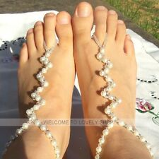 2 PCS Pearl Glass Beads Barefoot Beach Sandals Wedding Anklet Toe Foot Jewelry