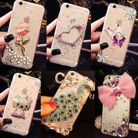 Girls Handmade Luxury Bling Diamond Crystal Jewelled Hard Clear Phone Case Cover