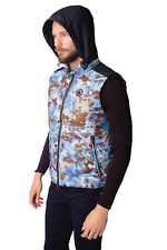 GOOSE FEEL Down Quilted Gilet Size IT 52 / XL Concealed Hood Funnel Neck RRP€255