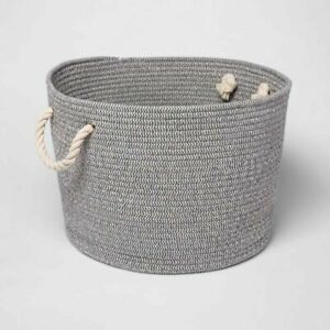 Cloud Island Gray Round Coiled Rope Storage Bin Basket With Handles Large