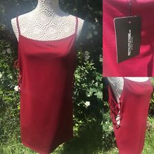 Pretty Little Thing Petite Size 12 Burgundy Lace Up Side Mini Dress Party Club