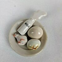 Vintage 5 Piece Porcelain Miniatures Spilled Milk Bottle, Eggs, Plate & Chick