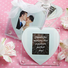 72 - Heart Design Glass Photo Coaster Wedding Favors - sets of 2