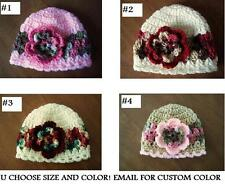 U CHOOSE! VARIE HATS! Crochet FLOWER pink camo BABY GIRL MADE IN USA photo prop!