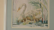 Framed Wysocki ColorArt Cross Stitch Swans & Cygnets Birds Nature Jca 15x13 New