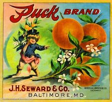 Riverside Shakespeare's Puck Pixie Orange Citrus Fruit Crate Label Art Print