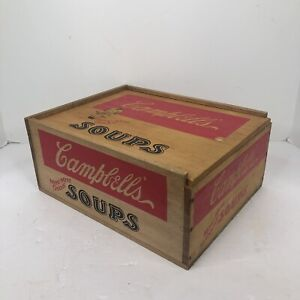 Vintage Campbell's Soup Wooden box  Crate  Soup box  chess game board  slide top