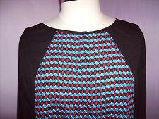 CALVIN KLEIN Black/Red/Blue Blouse Size 0X Retail $79 NWT