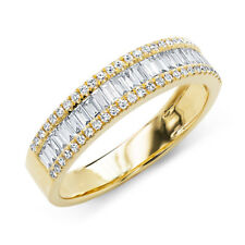 0.55 CT 14K Yellow Gold Channel Set Natural Baguette Diamond Wedding Band Ring