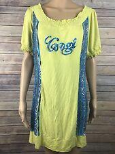 Coogi Dress Size 1X Plus Mini Stretch Short Sleeve Yellow Aztec Bodycon Wiggle
