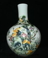 """21.6"""" China Famille Rose Porcelain Qing Dynasty Cranes Bird Flower Bottle Vase"""