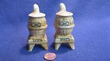 Vintage Tan Antique Pot Bellied Stove Salt and Pepper Shakers Ceramic         7
