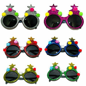 Glitter Xmas Christmas Sunglasses Glasses Party Fancy Dress Kids Adults Novelty