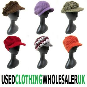 30 VINTAGE CHUNKY KNITTED PEAKED NEWSBOY HATS WINTER WOMEN'S WHOLESALE JOB LOT