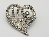 Vintage Heart Flower Brooch Pin Marcasite Style Silver Tone Valentine's Day
