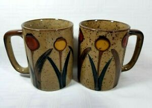 2 Vintage Stoneware Pottery Painted Flower Coffee Cup Mug