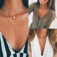 Fashion Womens Chain Pearl Bib Choker Pendant Charm Statement Necklace Jewelry