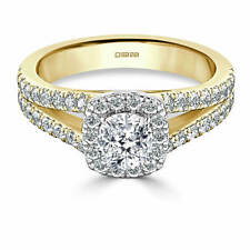 1.70 Ct Cushion Bridal Diamond Engagement Ring 14K Real Yellow Gold Size J K L