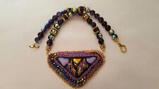 Amethyst's Fire, A Beaded Embroidery Pendent Set