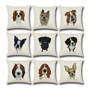 Cushion Cover Cotton Linen Cartoon Dog Printed Home Sofa Pillow Case Decorative