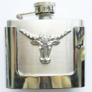 Buckle with Real Hip Flask And Longhorn- Motif Belt Buckle